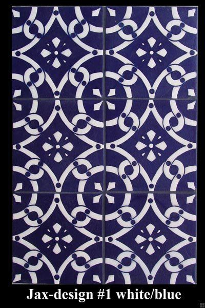 Jax 1 White On Blue Wall Tiles French Country Style Tiles