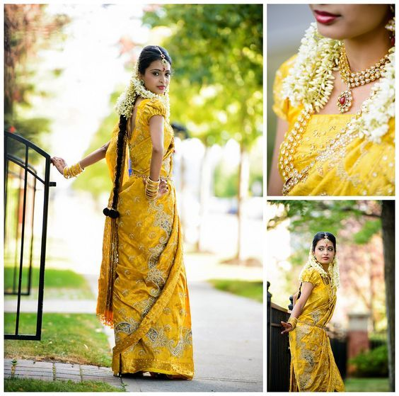Yellow bridal silk saree Indian bride Bridal fashion
