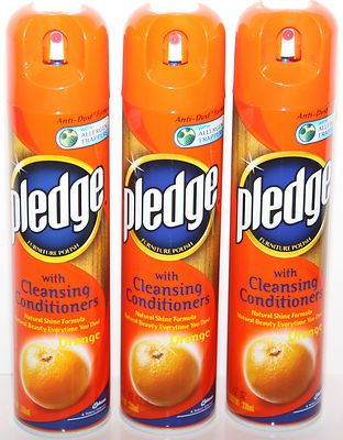 Pledge Furniture Polish With Cleansing Conditioners Orange Scent Spray 3 Pack Allergen Trers Anti Dust Formula