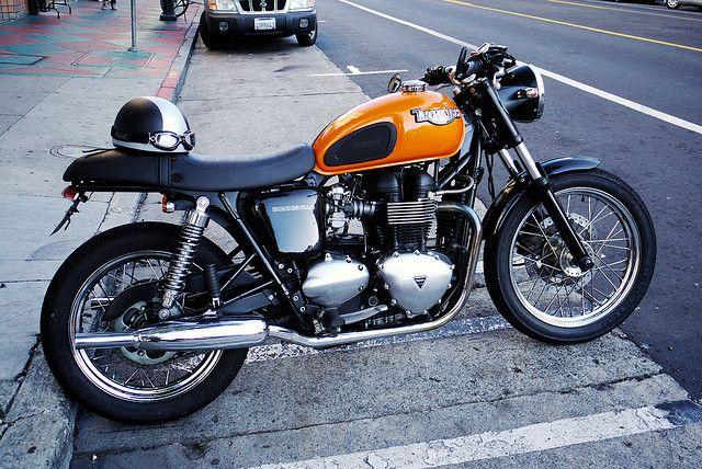 Orange Hinckley Triumph Bonneville Mild Custom Motorcycles