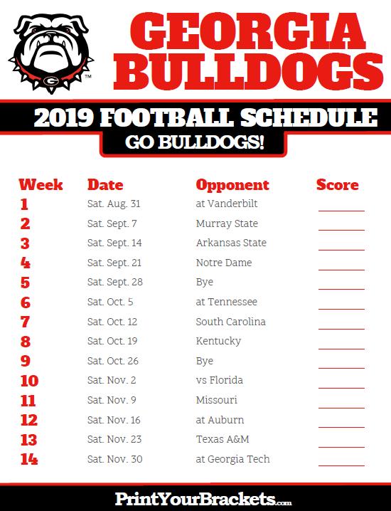 2019 Georgia Bulldogs Football Schedule Oklahoma State