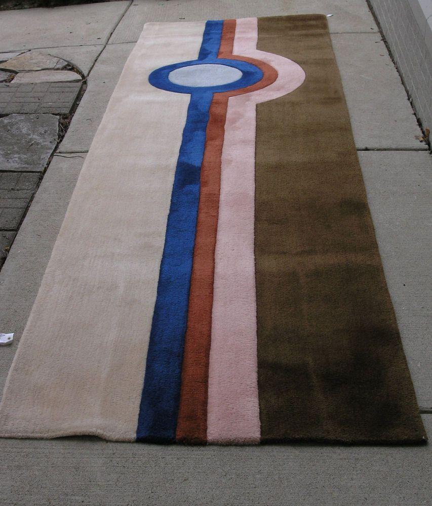 1970s Mod Colorblock Edward Fields Custom Made Wool Runner Rug Carpet 3 5 X12