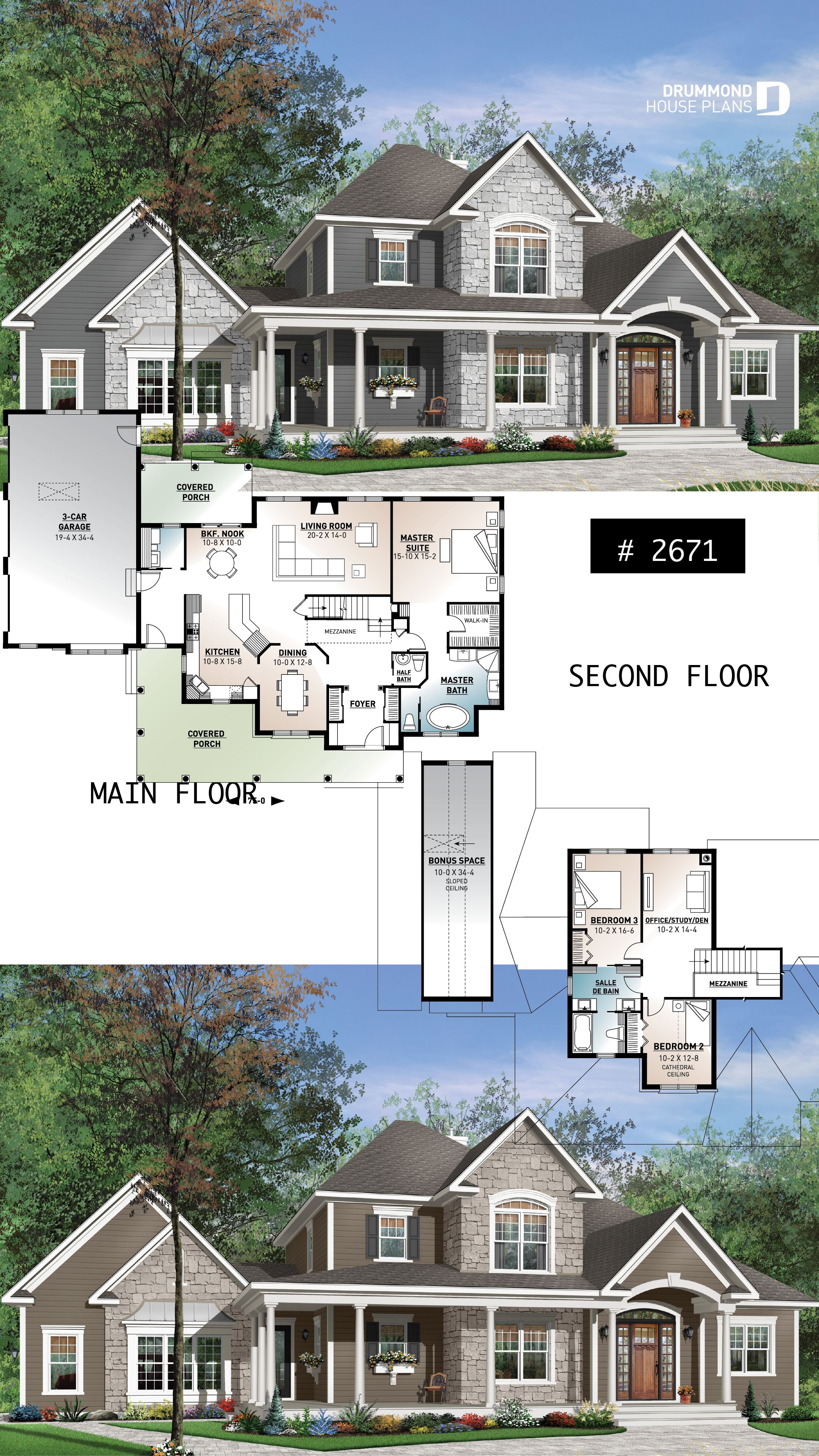 Discover the plan 2671 Cartwright which will please you for its 3 4 bedrooms and for its Farmhouse styles