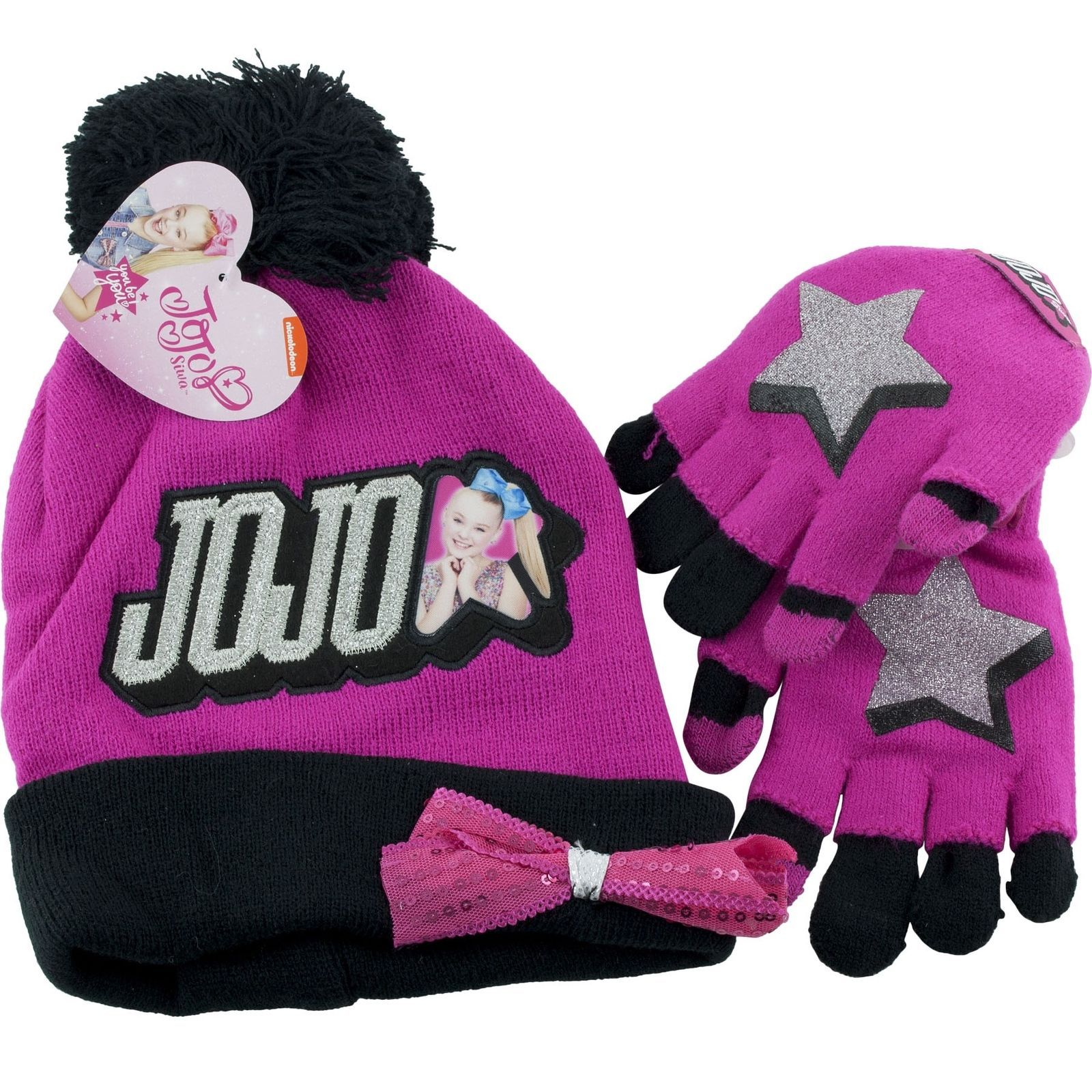 92921f3dd3d Gloves and Mittens 57919  Jojo Siwa Winter Cap Pink Hat And Gloves Mittens  Bow Set