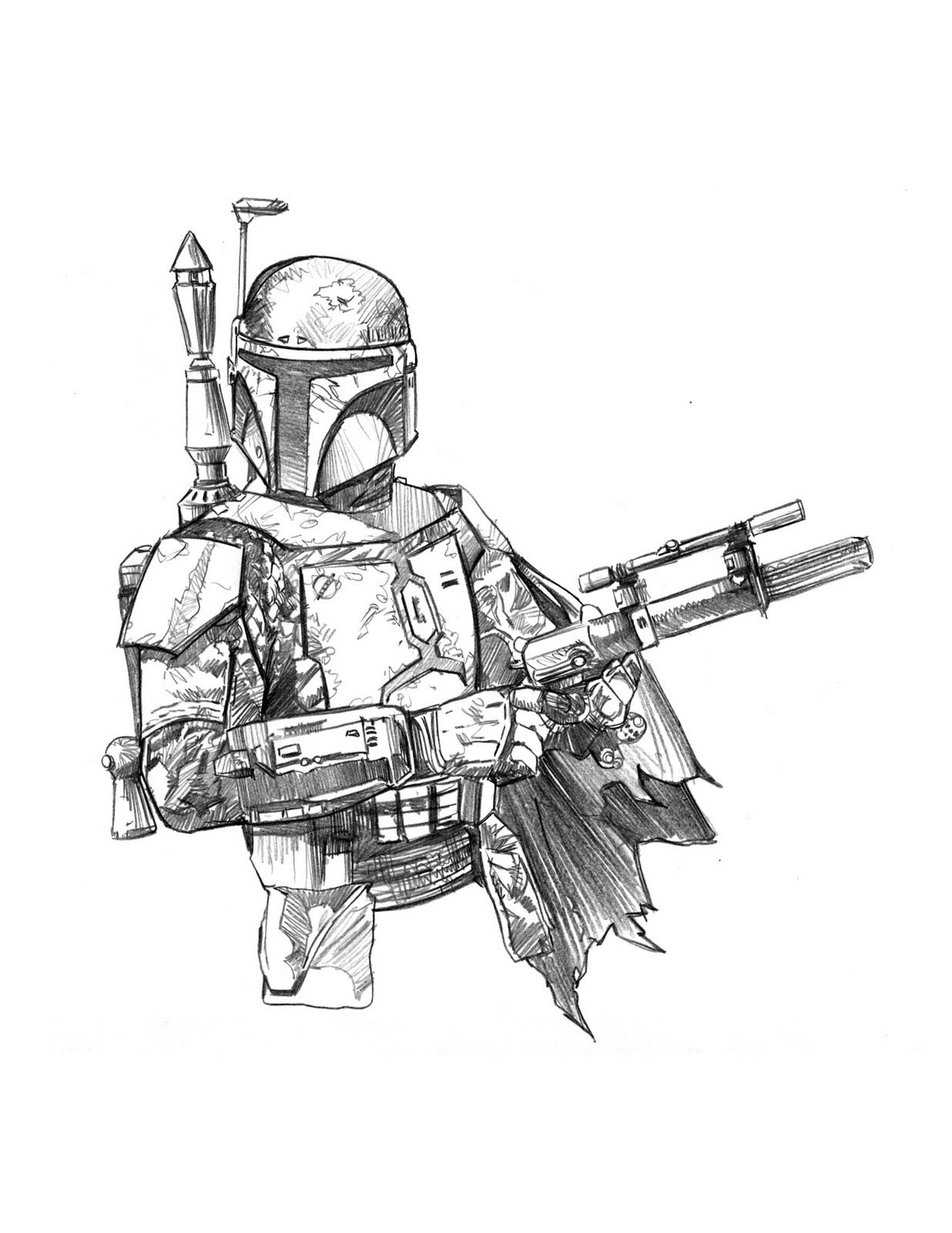 boba fett coloring page # 37