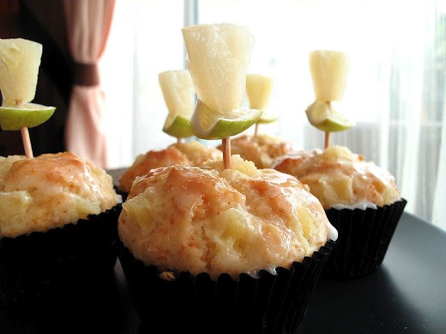 Honey Pineapple Olive Oil Muffins with Lime Glaze @Divababu