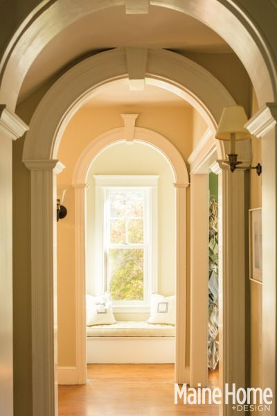Arched doorways in a Cape Elizabeth home