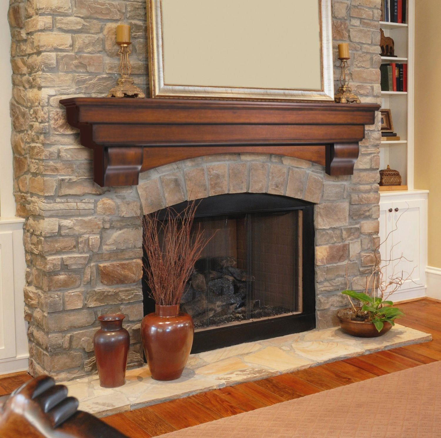 Faux Holz Kaminsims #Kamin Fireplace Shelves, Fireplace Ideas, Mantel Ideas,  Mantle Shelf