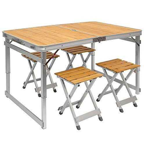 Table De Camping Portable Table 4 Tabourets Pliante En Mallette Table De Pique Nique Rglable En Outdoor Folding Table Wooden Picnic Tables Camping Picnic Table