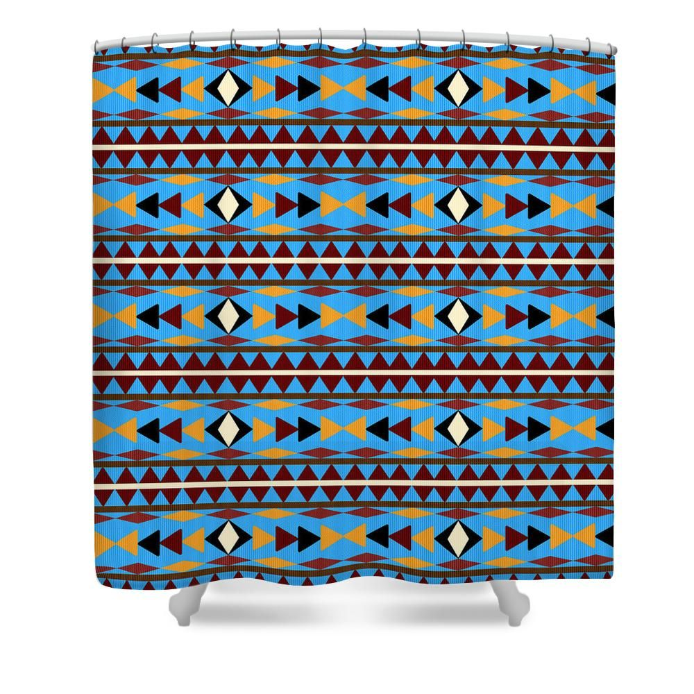 Navajo Blue Pattern Shower Curtain For Sale By Christina Rollo