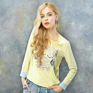 Embroidered-Flower Embellished Pullover from #YesStyle <3 ELF SACK YesStyle.com