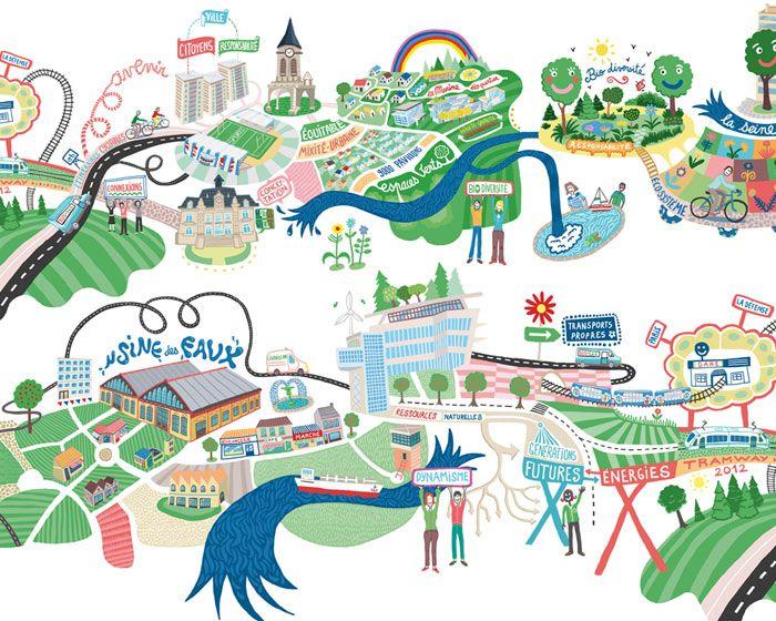 click to enlarge illustration colombes map landscape