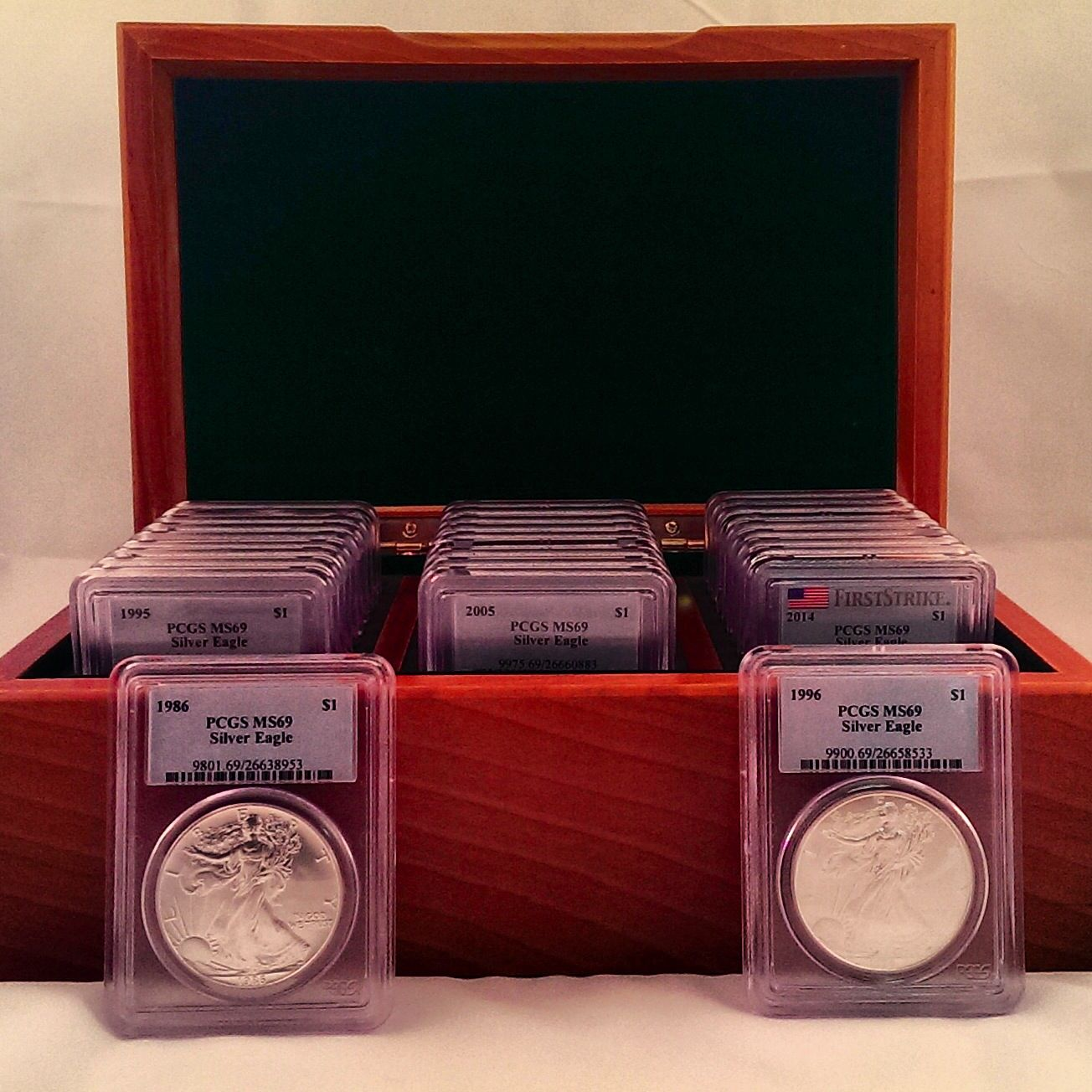 Complete American Silver Eagle set PCGS MS69! Comes in this beautiful wood box! Check it out on our eBay store, bullionsharkllc. #bullionshark
