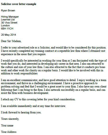 Solicitor Cover Letter Example ~ Good To Know ~ Pinterest - assignment letter