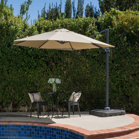 Noble House Olson Outdoor 9 5 Ft Canopy Umbrella With Base