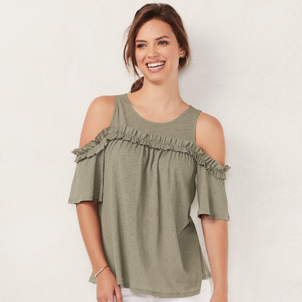 a62dbe1deefa98 Women's LC Lauren Conrad Rufflle Cold-Shoulder Top, Size: Medium, Med Green