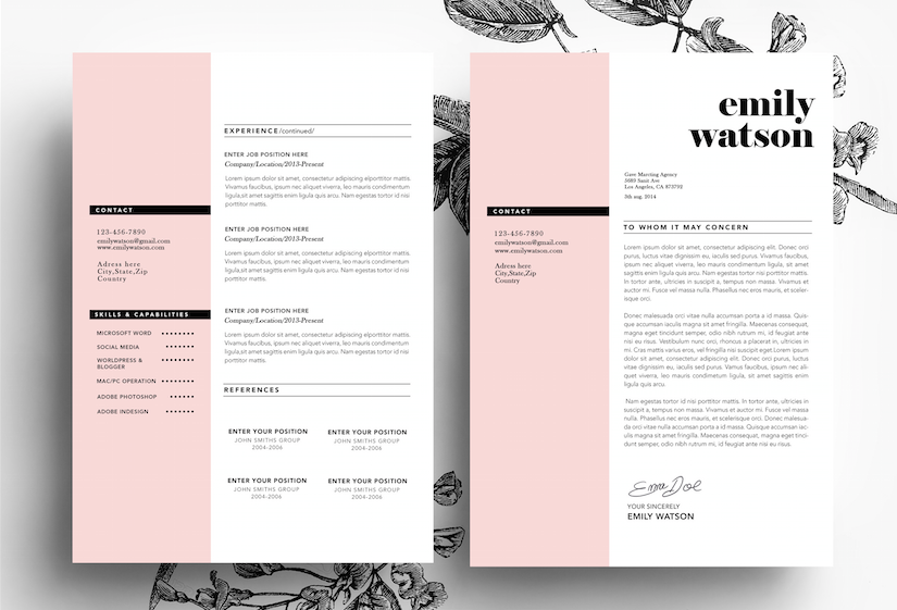 Resume Template For Pages 3 Page Cv Template  Business Cardemily's Art Boutique On