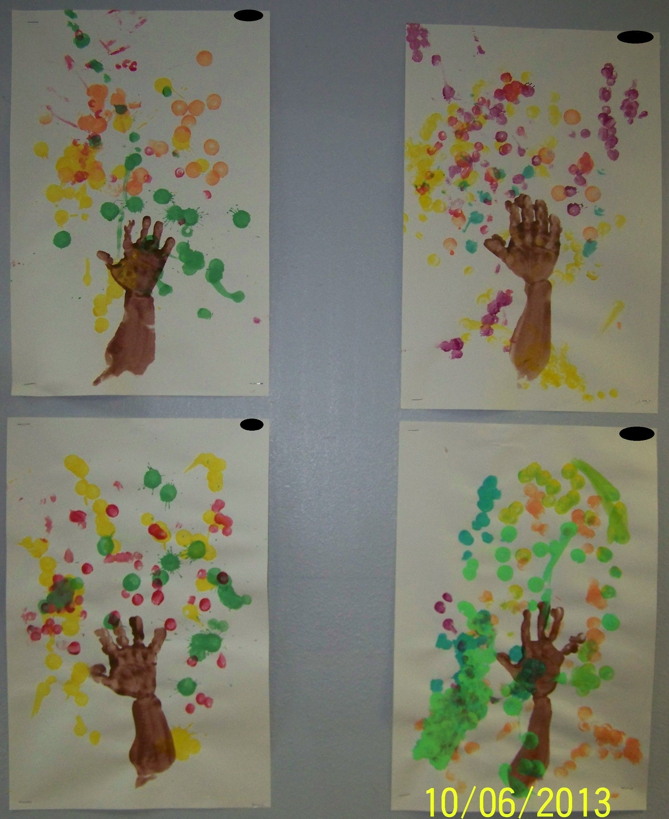 Toddler Preschool Art Fall Trees Paint Their Arm And
