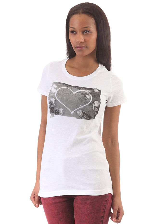 05a6646b4e Converse Photo Heart Crew T-Shirt - Sweatshirt für Damen - Weiß ...