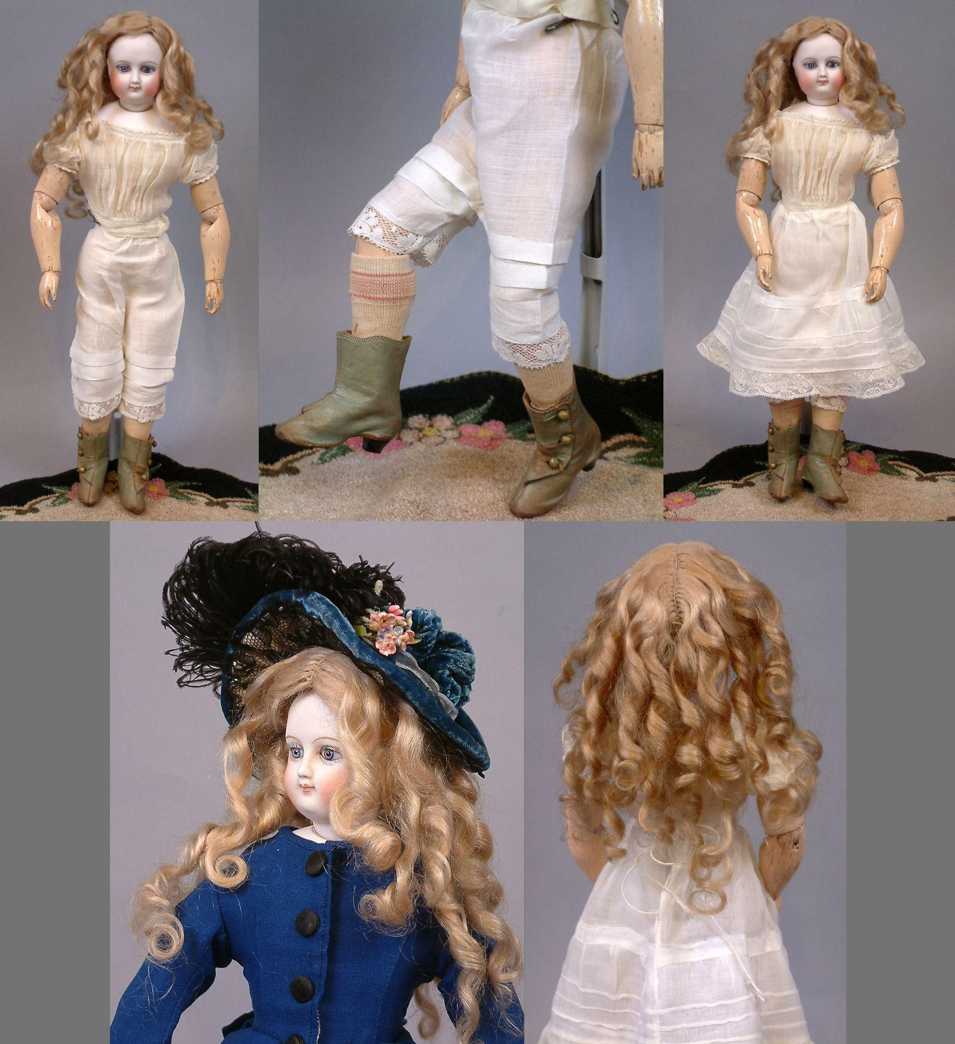 """14"""" Fully Articulated Wood Body Bru Fashion Poupee with from kathylibratysantiques on Ruby Lane"""