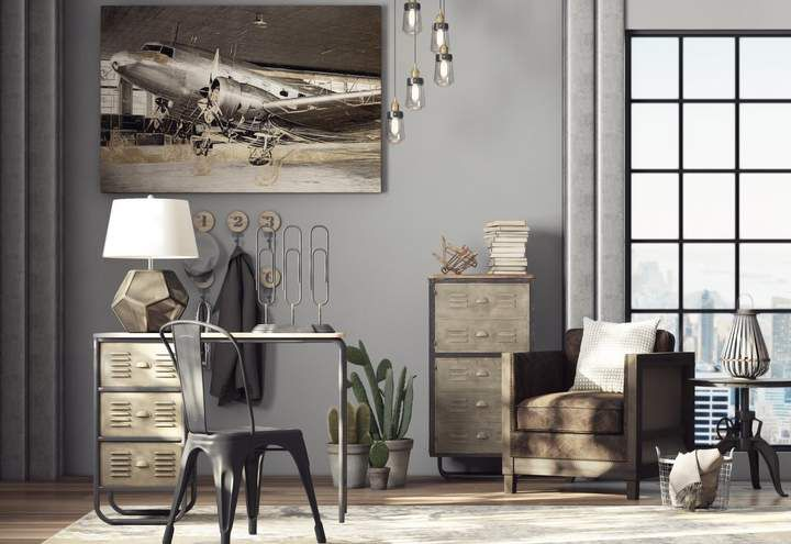 I am drawn to this industrial style office space. That ...