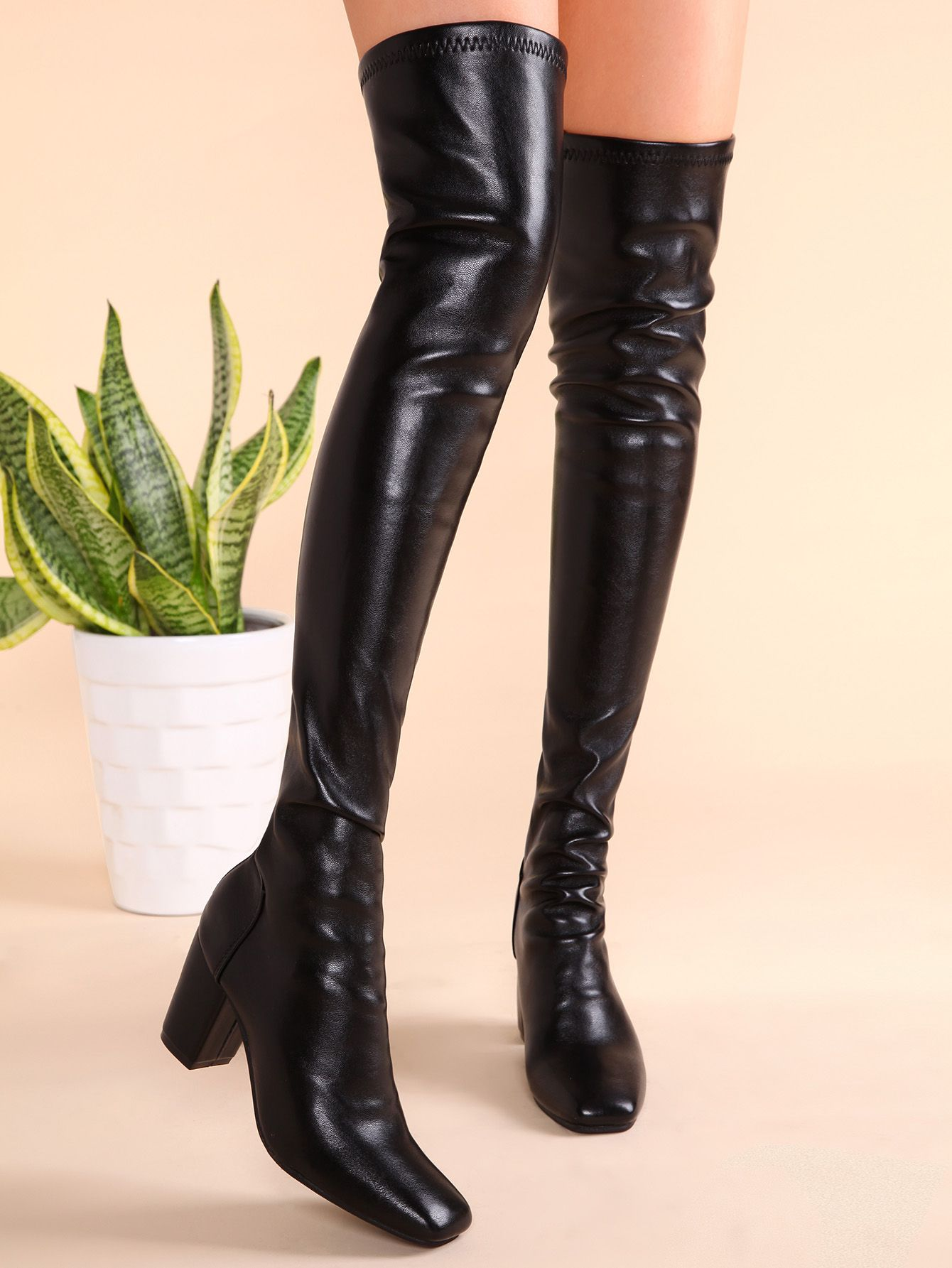 49db65df26f SheIn offers Black PU Square Toe Back Zipper Chunky Heel Thigh High Boots    more to fit your fashionable ...