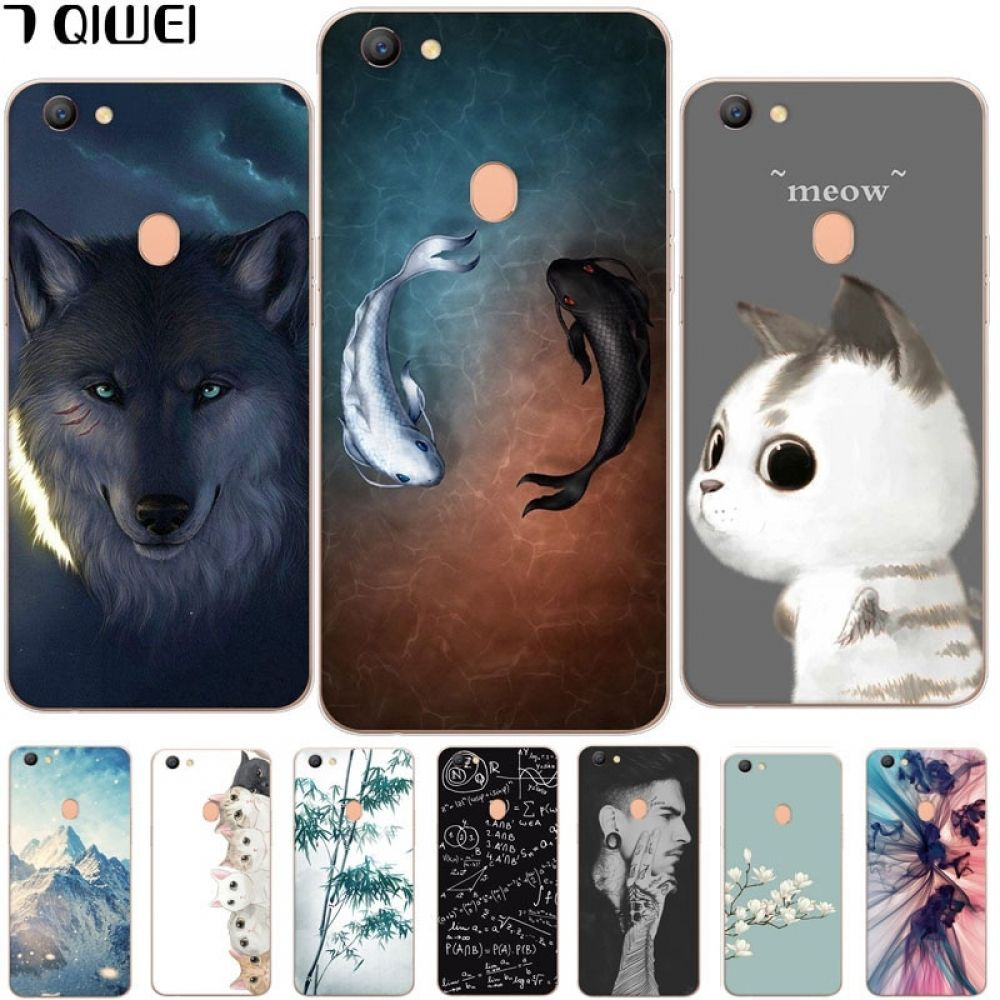 For OPPO F5 Case Silicone Cute Cat Cartoon Clear Back Phone