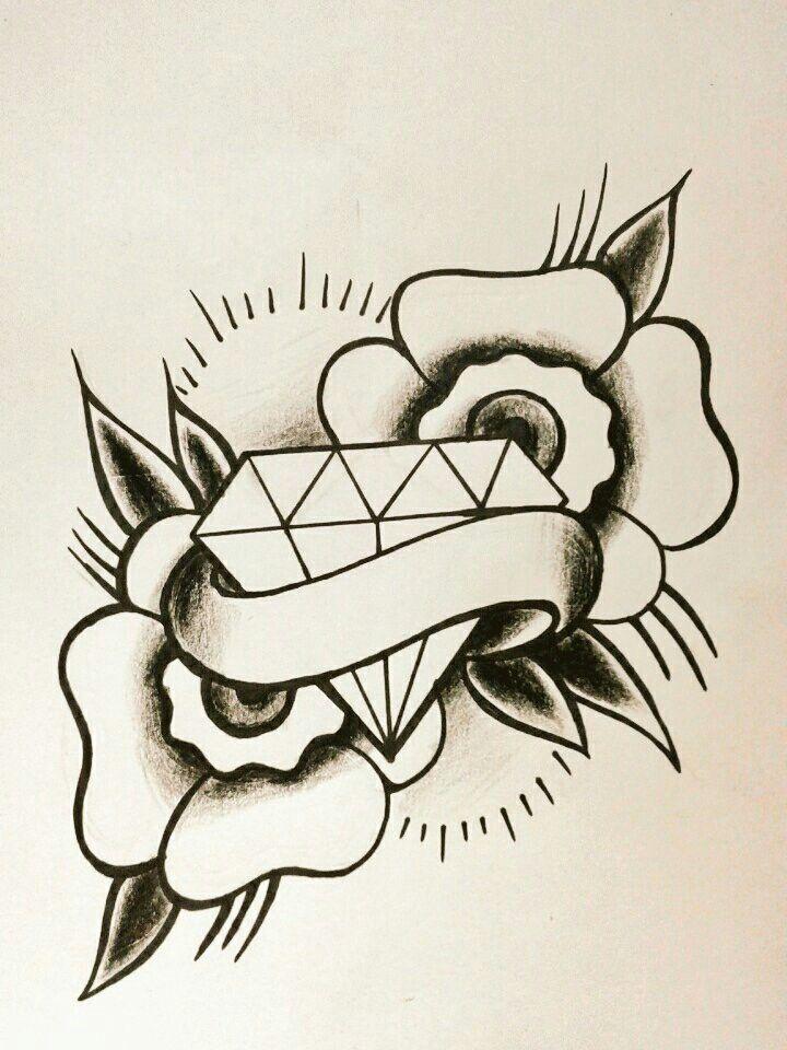 diamond old school   tattoo- style   diamond tattoos, tattoos