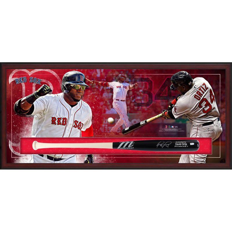 David Ortiz Boston Red Sox Fanatics Authentic Framed Autographed Marucci Game Model Bat Collage Shadowbox Red Sox Boston Red Sox David Ortiz