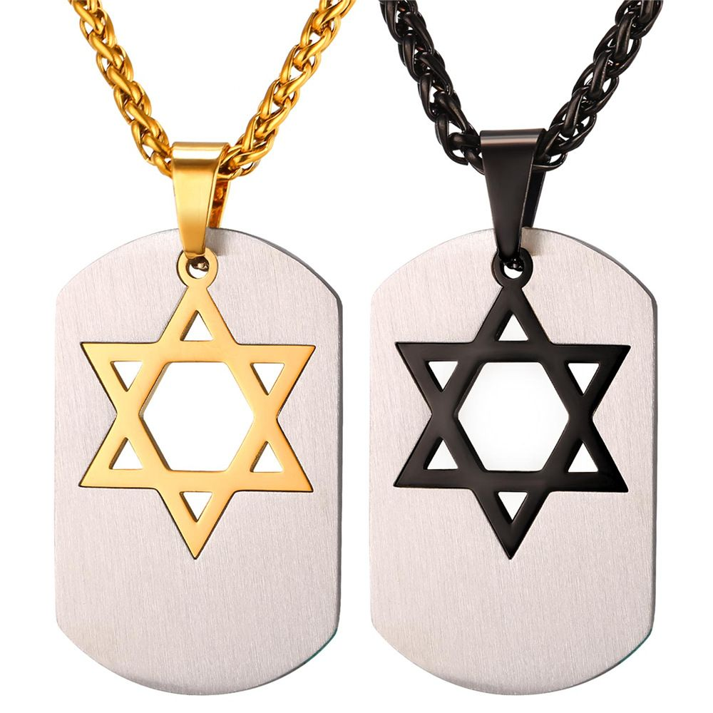 jewish star large jewelry mens necklace religious stainless bling david cdl pendant of magen