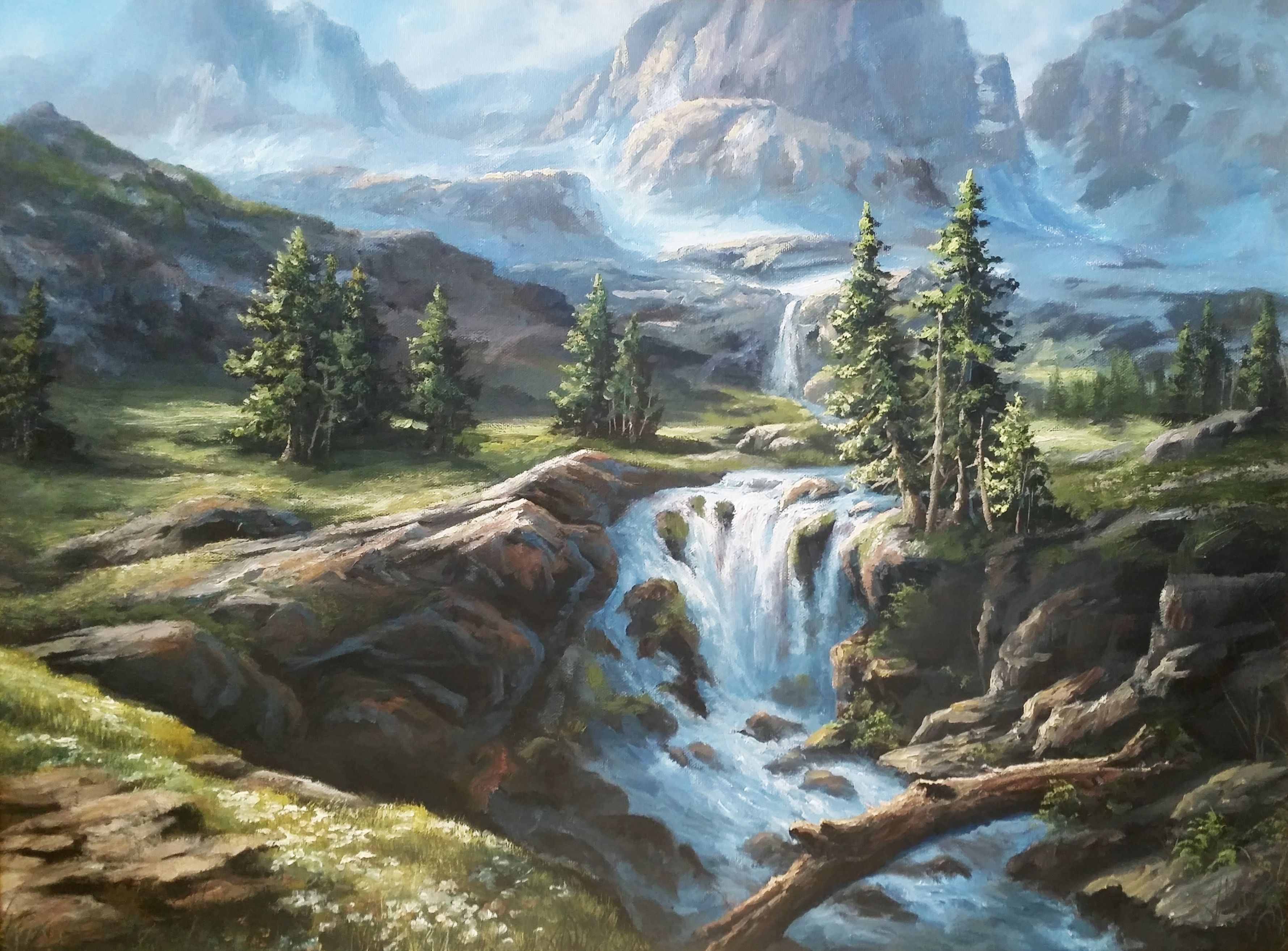 Sunlit Mountain Waterfall Oil Painting By Kevin Hill Watch Short Oil Painting Lessons On Youtu Landscape Paintings Oil Painting Landscape Waterfall Paintings