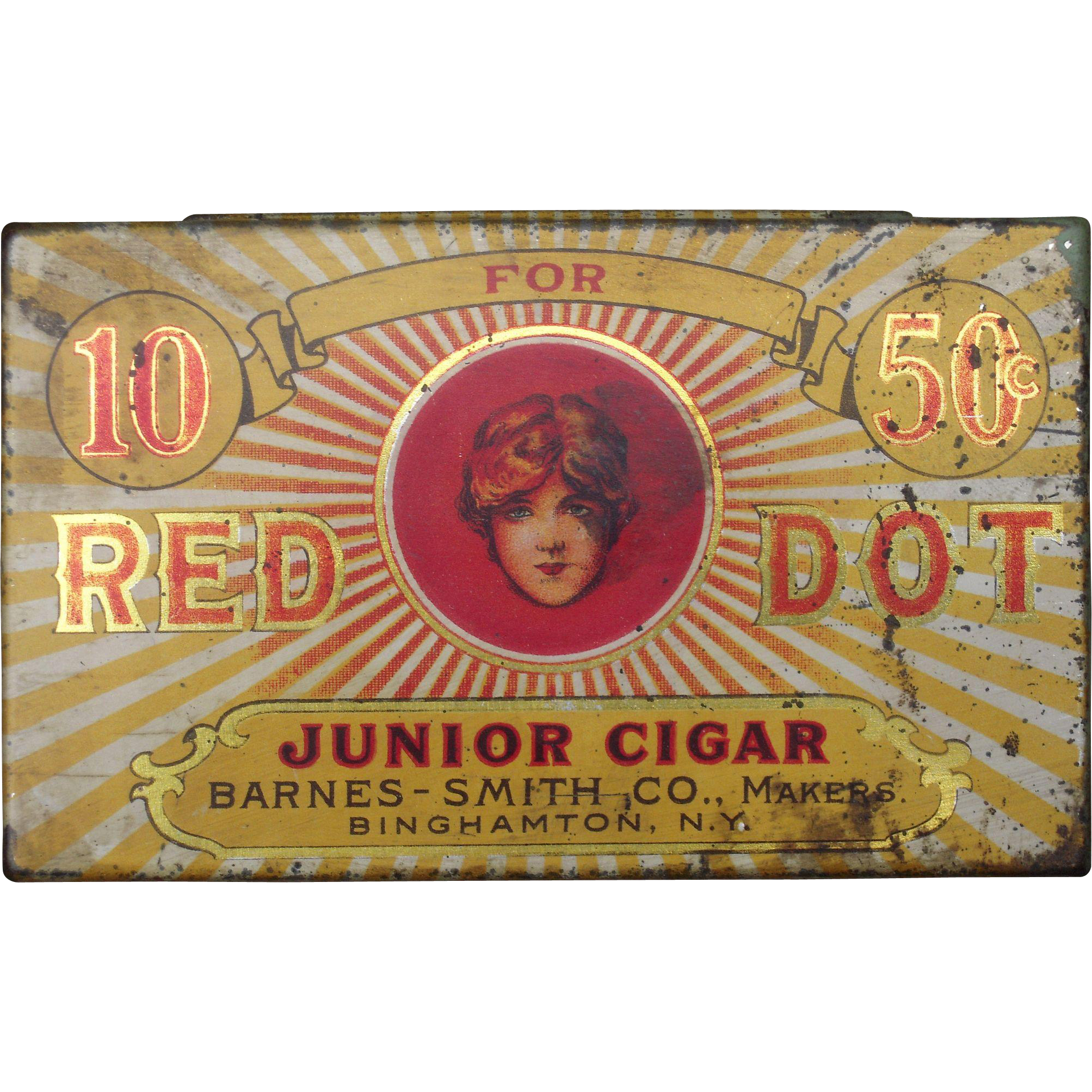 c1905 Advertising Tin Red Dot Cigars from bluesprucerugsandantiques on Ruby Lane
