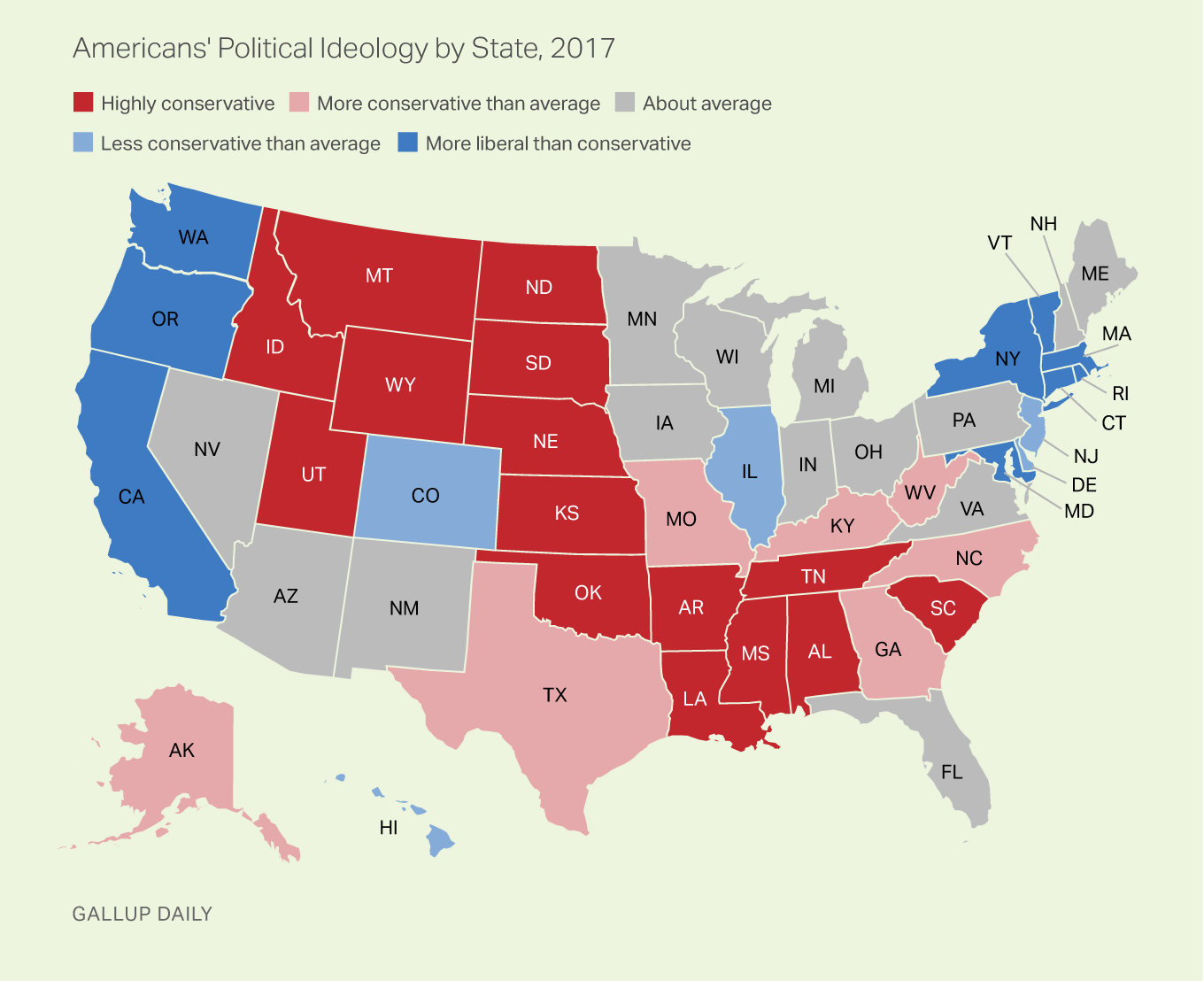 Americans' Political Ideology by State, 2017 (Politics, United