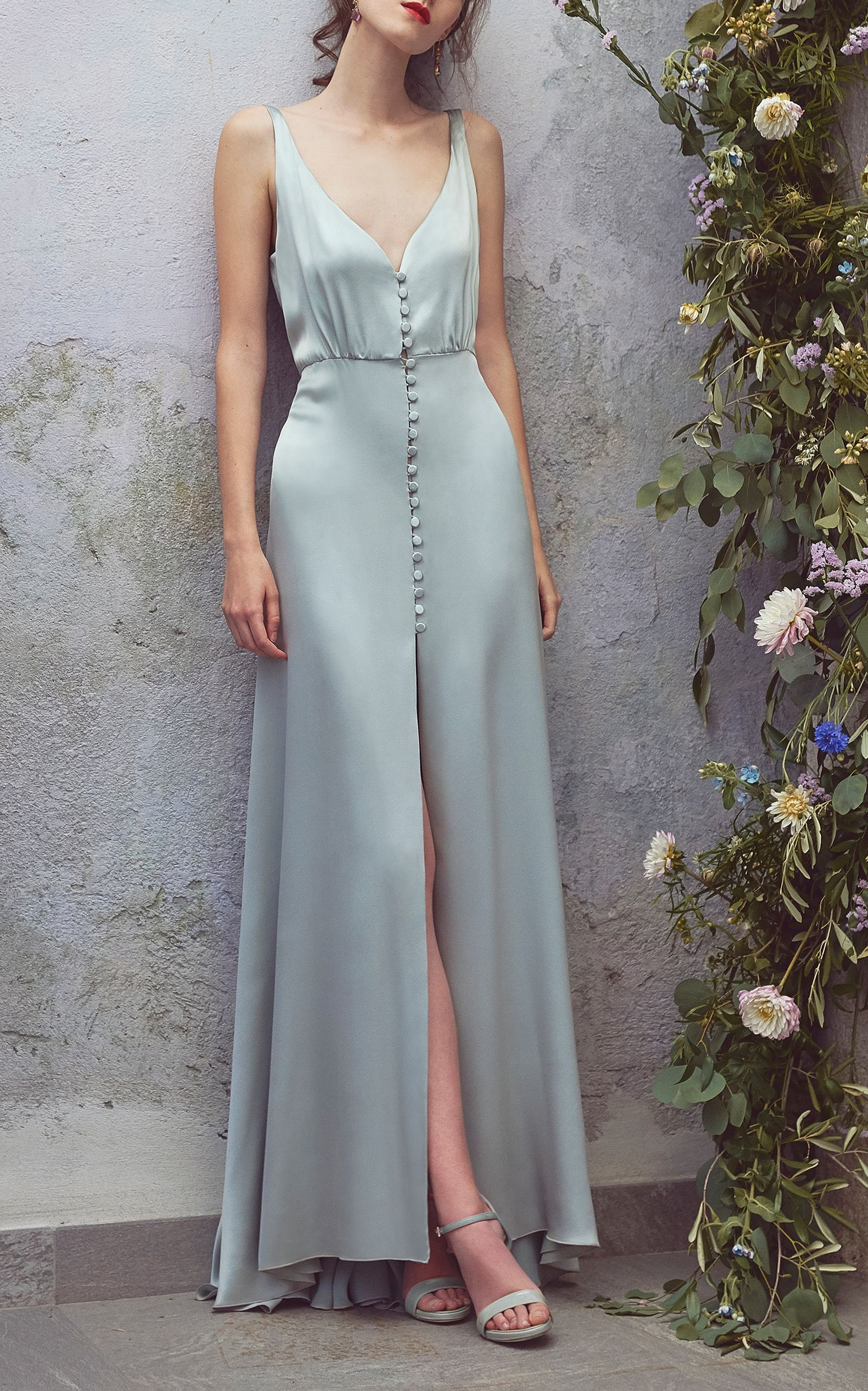 Satin Full Length Dress by LUISA BECCARIA for Preorder on Moda Operandi a0a5181f7ac1