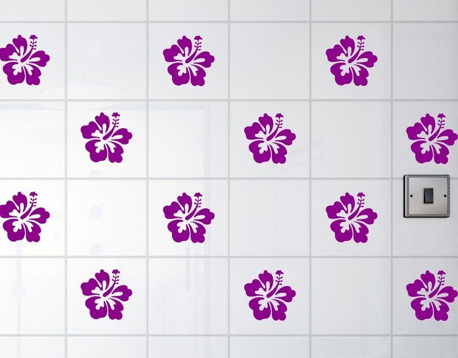 A Pack Of 12 Hibiscus Flower Bathroom Tile Transfers Waterproof Stickers Bathroom Tile Stickers Flower Tile Waterproof Stickers