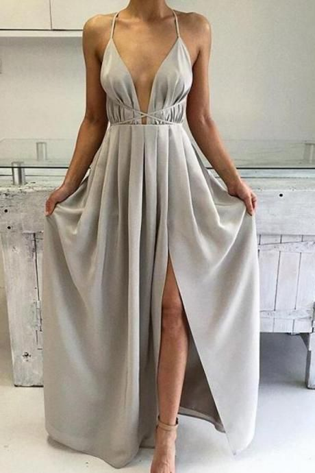 Sexy Silver Spaghetti Strap Long Formal Dress Backless Prom Dresses ...