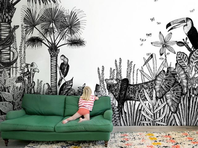 Papier peint chambre d enfants tapisserie pinterest for Papier peint tendance chambre
