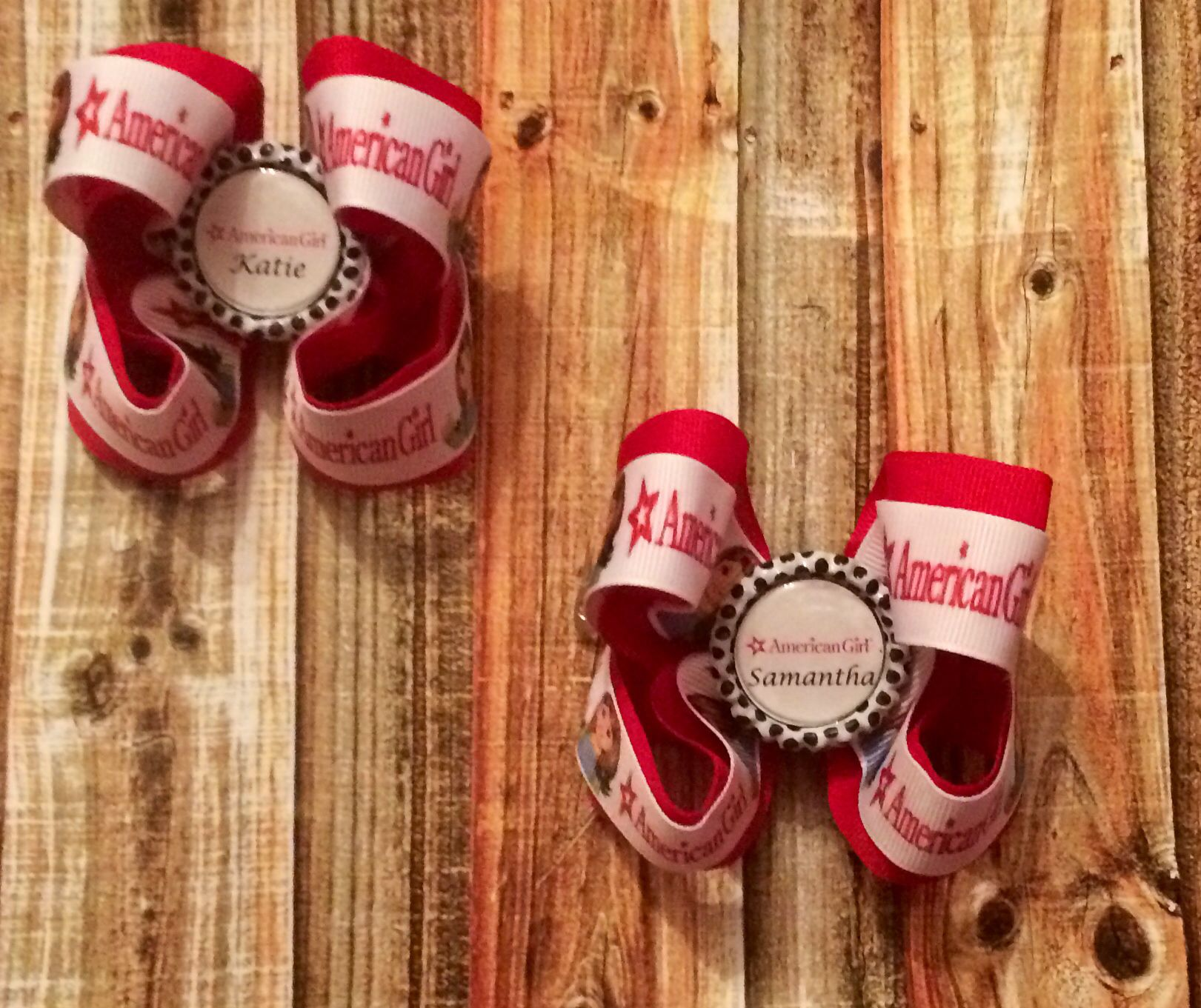 American girl personalized bows www.facebook.com/katiesbowsgalore