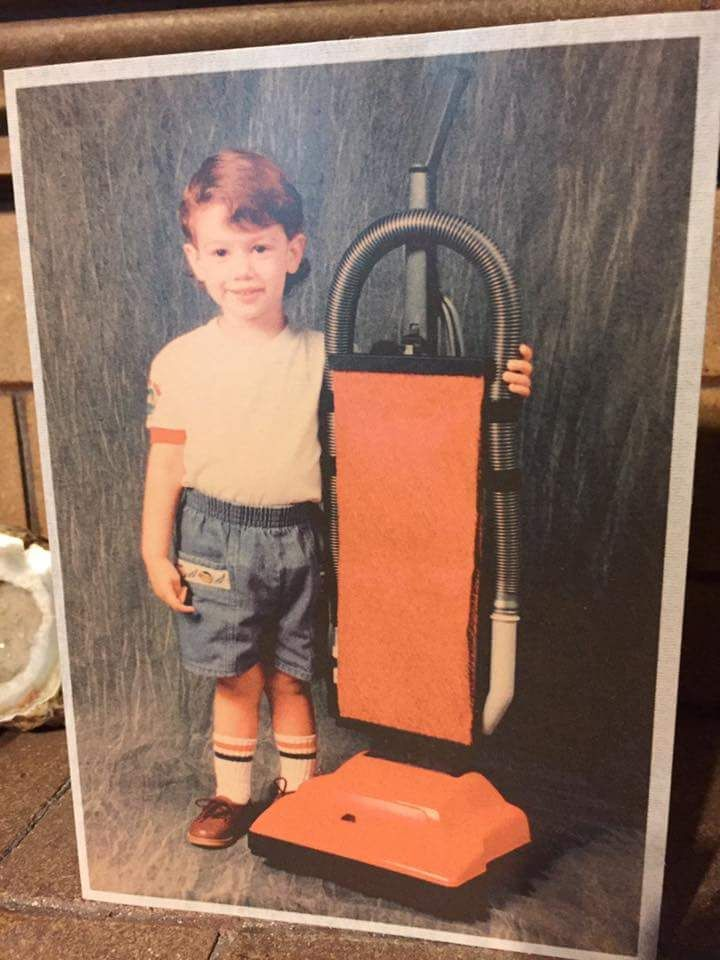 My friend had portrait taken w/ a vacuum cleaner when he was a child...