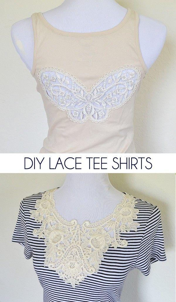diy lace tee shirts klamotten selber machen selber machen. Black Bedroom Furniture Sets. Home Design Ideas