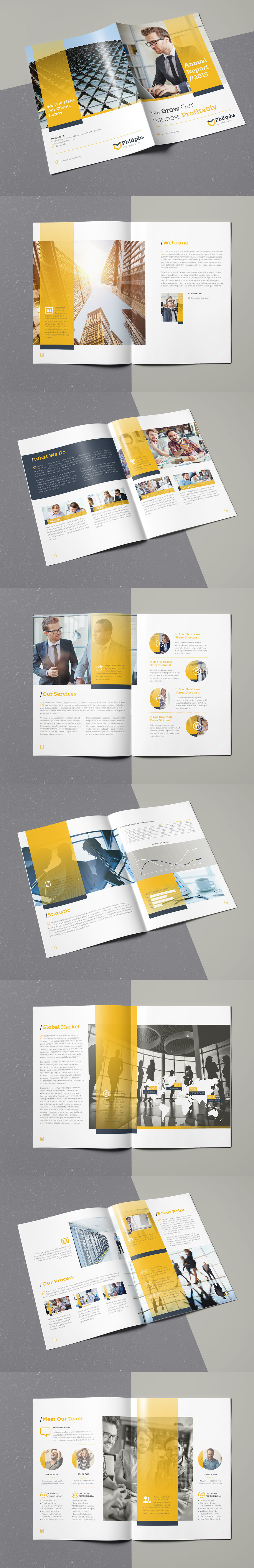 Annual Report Brochure 16 Pages A4 Template InDesign INDD | Brochure ...