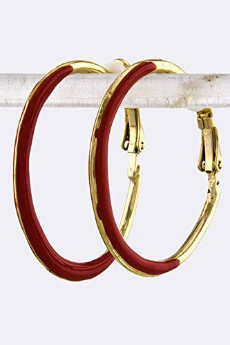 BAUBLES  CO PAINTED HOOP EARRINGS Red >>> To view further for this item, visit the image link.