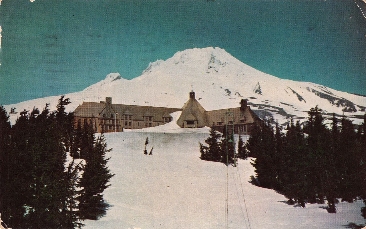 Postcard Of The Timberline Lodge Mt Hood Oregon Site Film Shining
