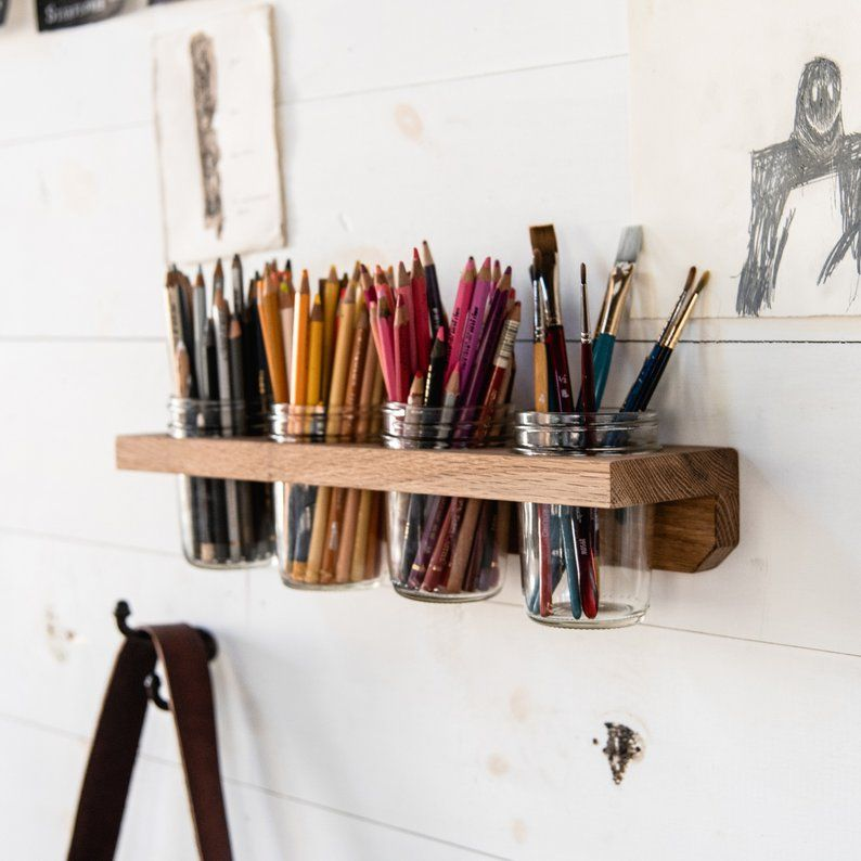 Photo of 4 Mason Jar Wall Caddy, Bathroom Shelf, Hygge Kitchen Organization, Home Decor, Bathroom Storage, LANDIS CADDY by Peg and Awl