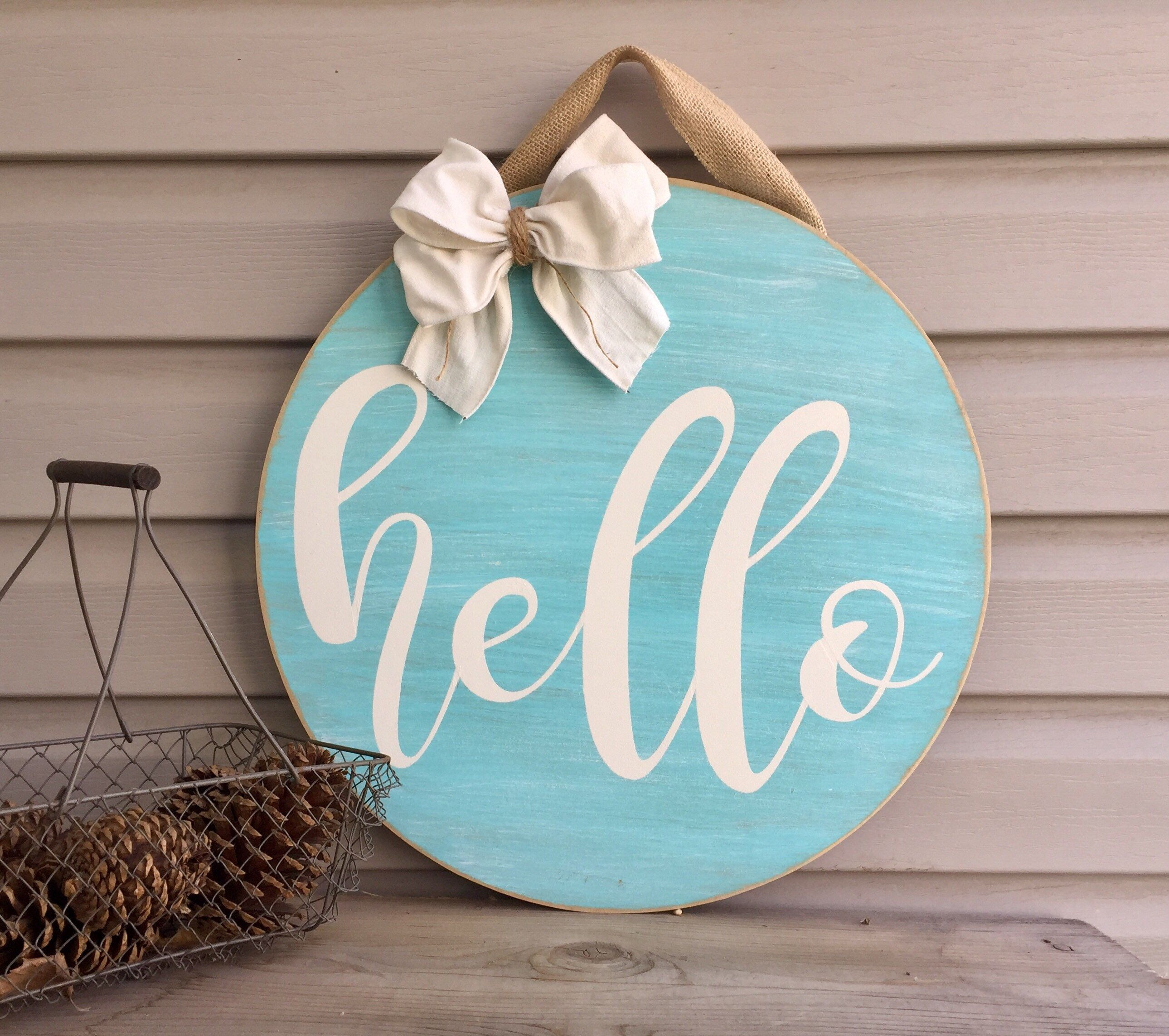 Cute Door Decor My Etsy Shop Hello Door Hanger Front