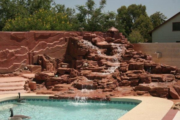 This Fountain Waterfall Is Made Entirely From EPS Foam! #PoolWaterfall  #FoamWaterfall #Foam