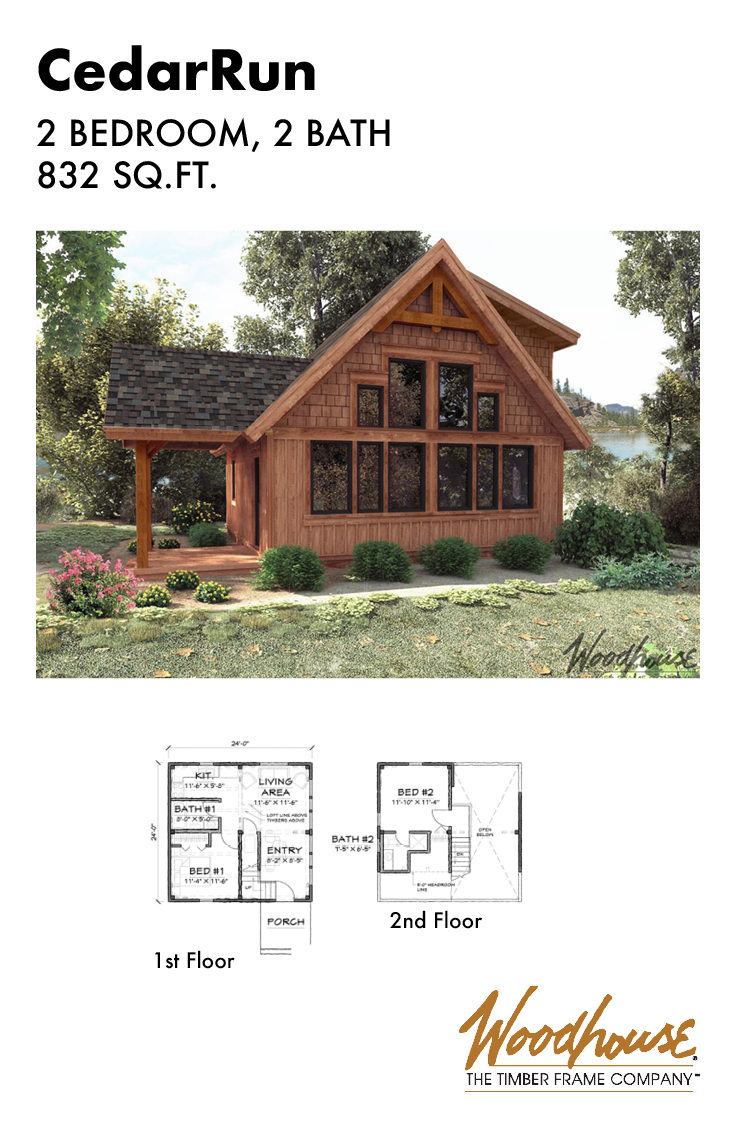 This Rustic And Small Timber Frame Cabin Would Fit In Any Wooded Or Lakeside Property It Is A Woodhouse Timber Frame Cabin Small Rustic House Lake House Plans