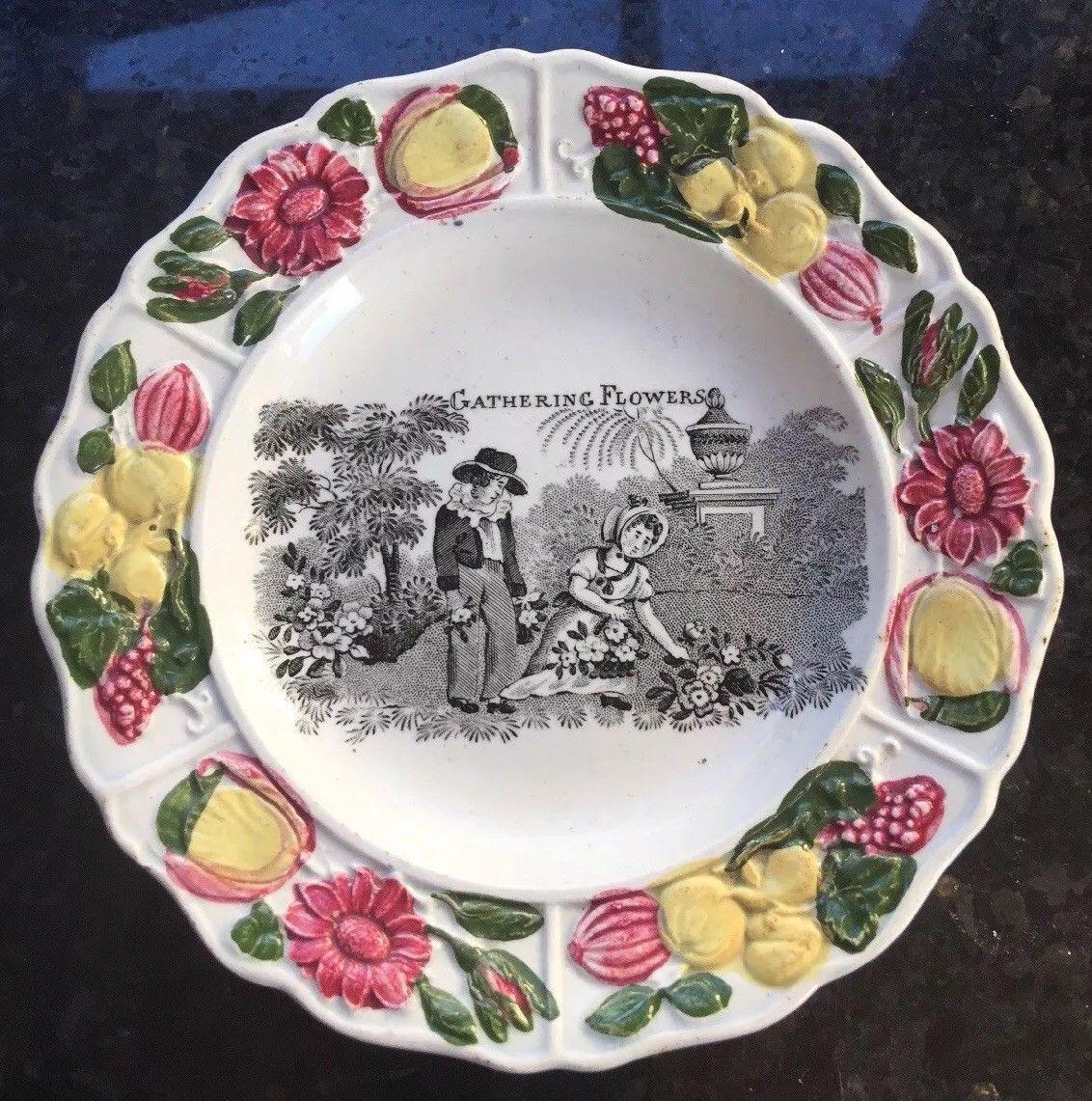 Antique Victorian Children S Pottery Plate Gathering Flowers Ebay Pottery Plates Plates Pottery