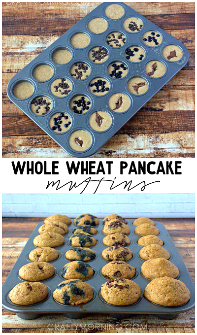 Mini Whole wheat pancake muffins! Kids love these for breakfast! - Crafty Morning