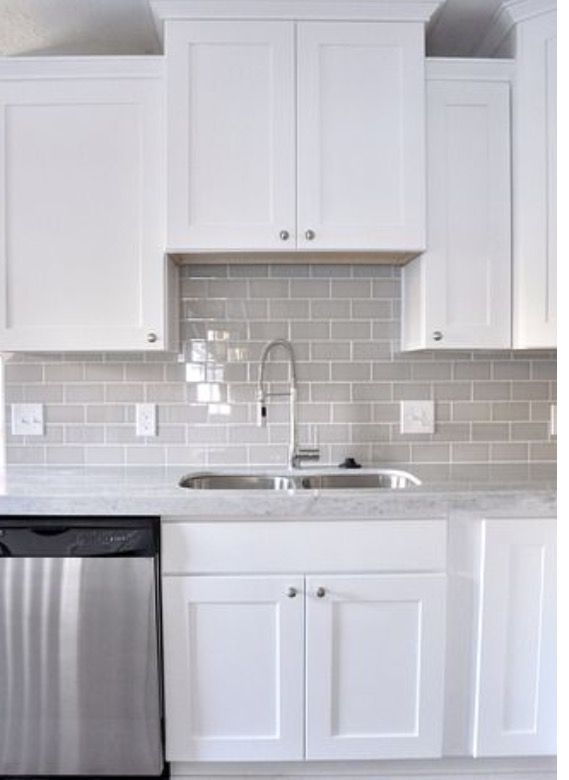 White Upper And Lower Cabinets Grey Backsplash Kitchen Cabinets